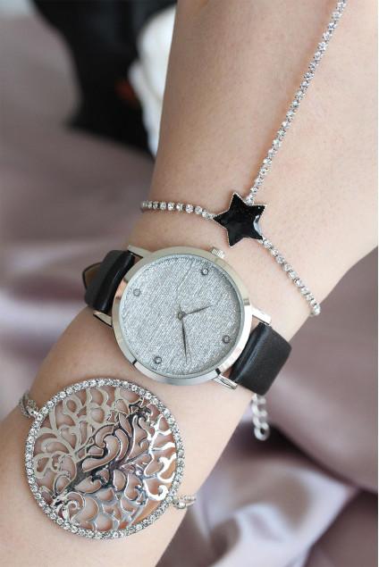 Silver Metal Kasa Deri Kordon Kadın Bileklik Saat Hediye