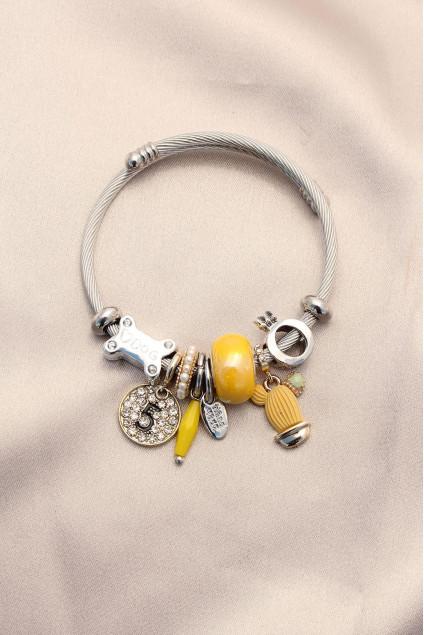 Sarı Kaktüs Model Taşlı Charm Bilezik