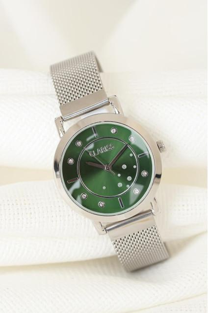 Clariss Marka Silver Renk Kaplama Hasır Metal Kordonlu Yeşil İç Tasarımlı Metal Kasa